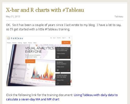Figure 1 - First Tableau blog post on May 31, 2013.