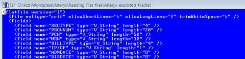 Figure 3 - The first few lines of XML configuration file (*.flat) that was created for the example.