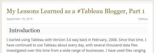 Figure 2 - Lessons Learned as a Tableau Blogger.