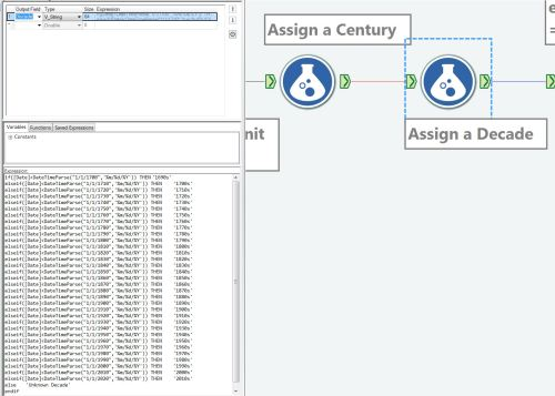 Figure 1 - How to establish decade buckets in an Alteryx workflow.
