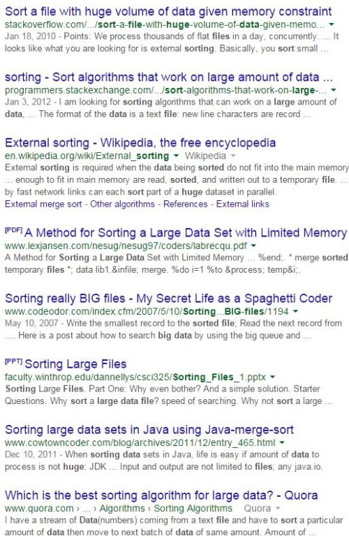 Figure 0 - Results From a Google Search For Sorting Large Files.