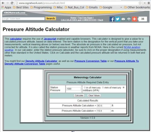 Figure 3 - Pressure to elevation calculator.
