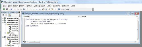 Figure 7 - The GetURL code in the VBA environment.