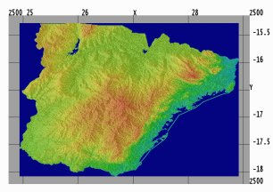 Figure 3 - Mathematically optimized topographic surface of Southern Zambia as created by Dudley.