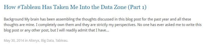 The Tableau Data Zone Part 1