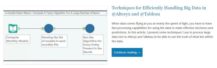 Techniques for Efficiently Handling Big Data in @Alteryx and